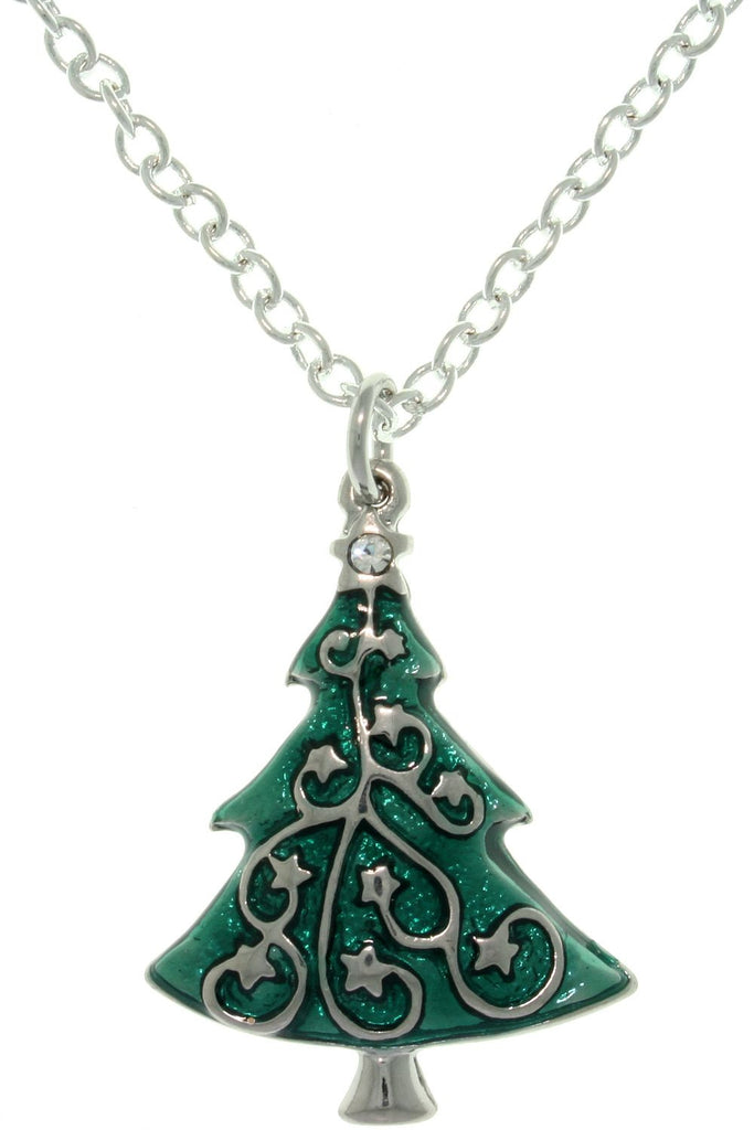 Jewelry Trends Pewter Crystal and Enamel Christmas Holiday Star-decorated Tree Charm with 18 Inch Chain Necklace