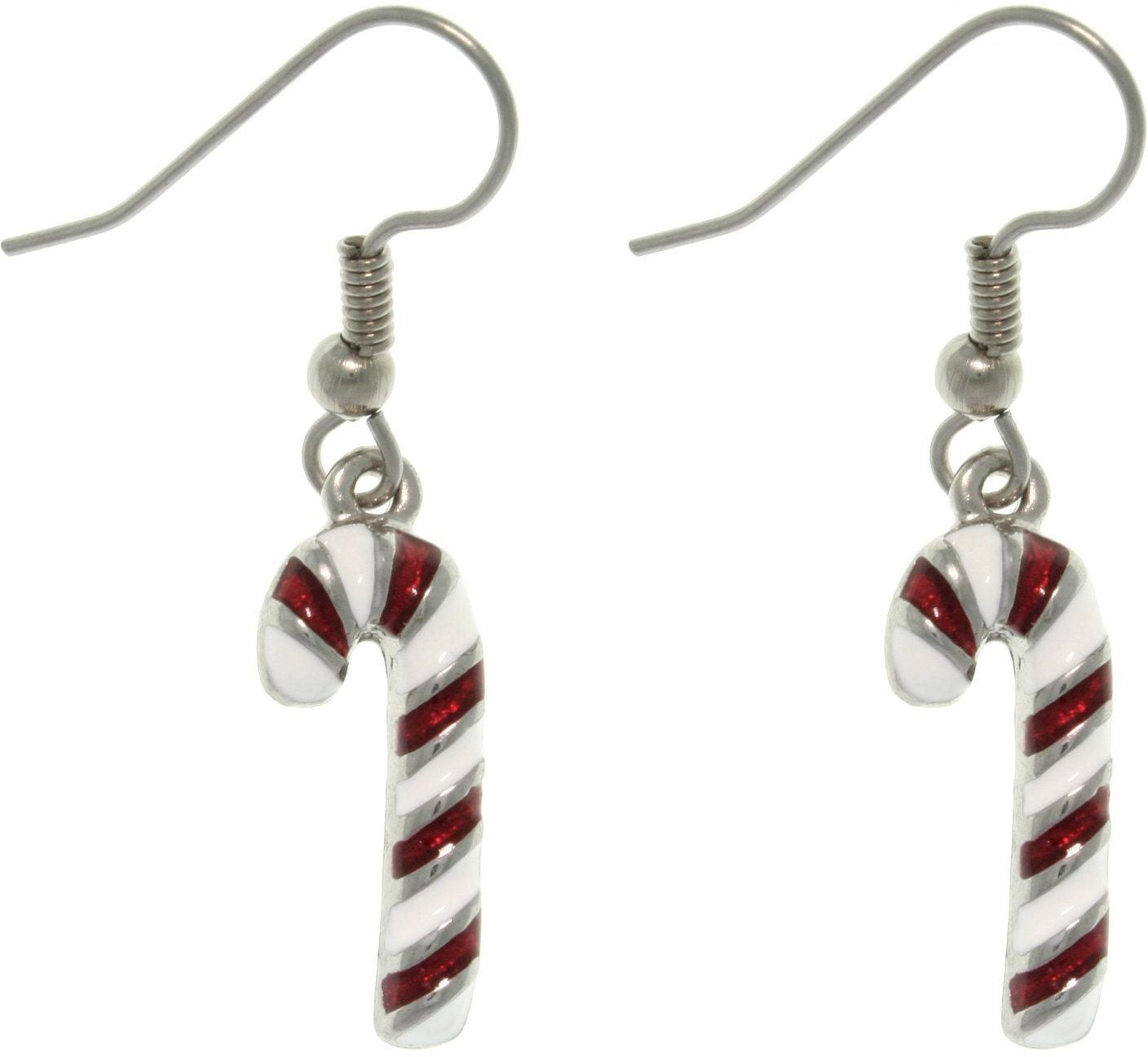 Jewelry Trends Pewter Holiday Candy Cane Dangle Earrings with Sparkling Enamel Stripes