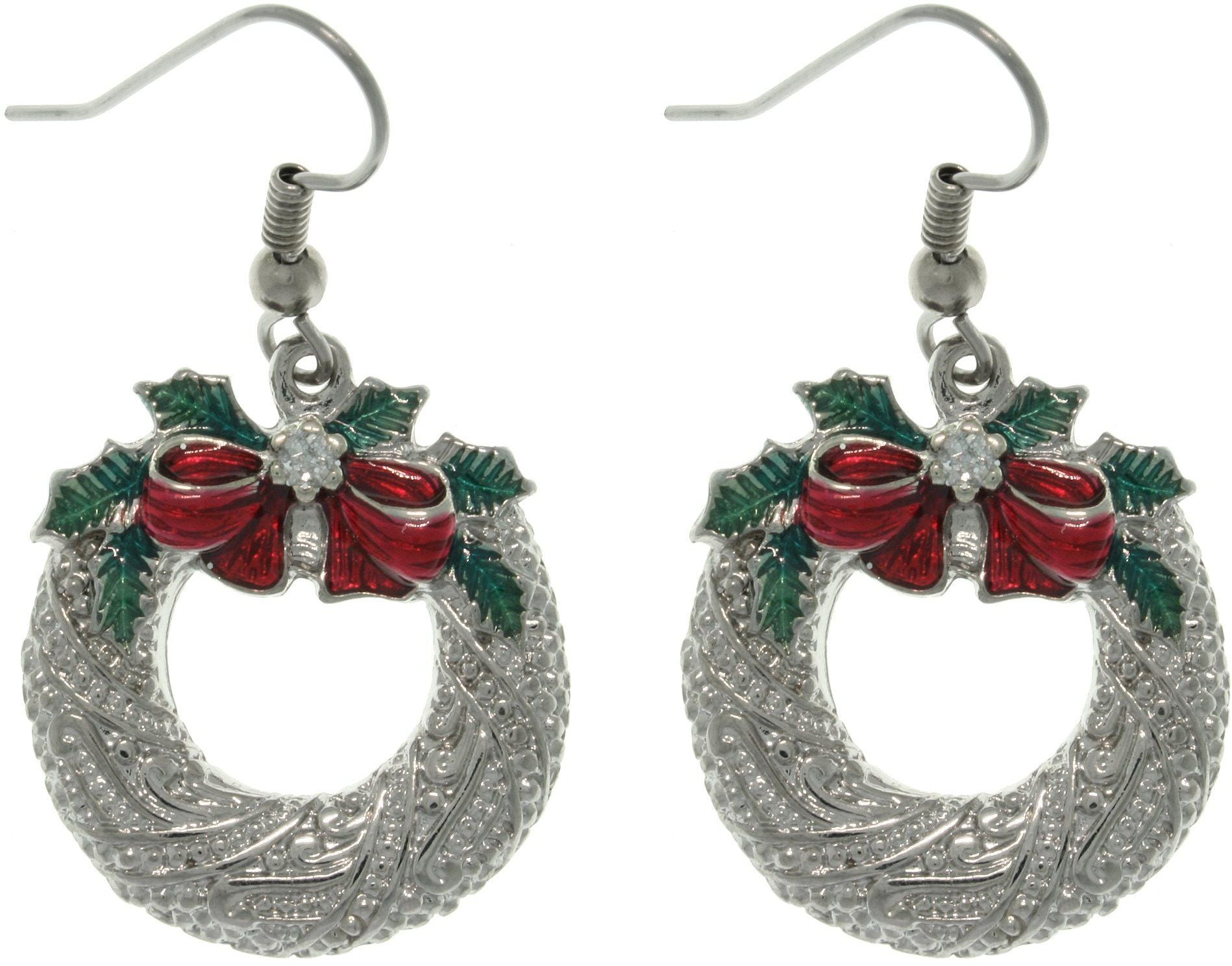 Jewelry Trends Pewter Christmas Holiday Wreath and Bow Dangle Earrings