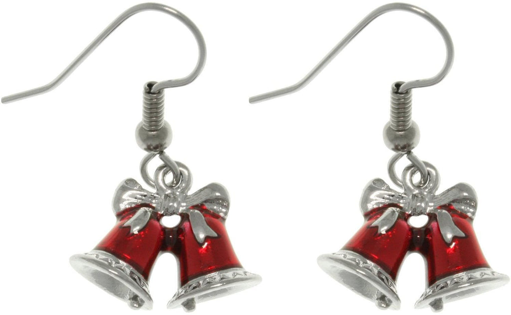 Jewelry Trends Pewter Red Holiday Bells Earrings