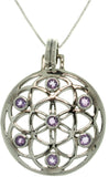 Jewelry Trends Sterling Silver Amethyst Flower of Life Pendant on 18 Inch Box Chain Necklace