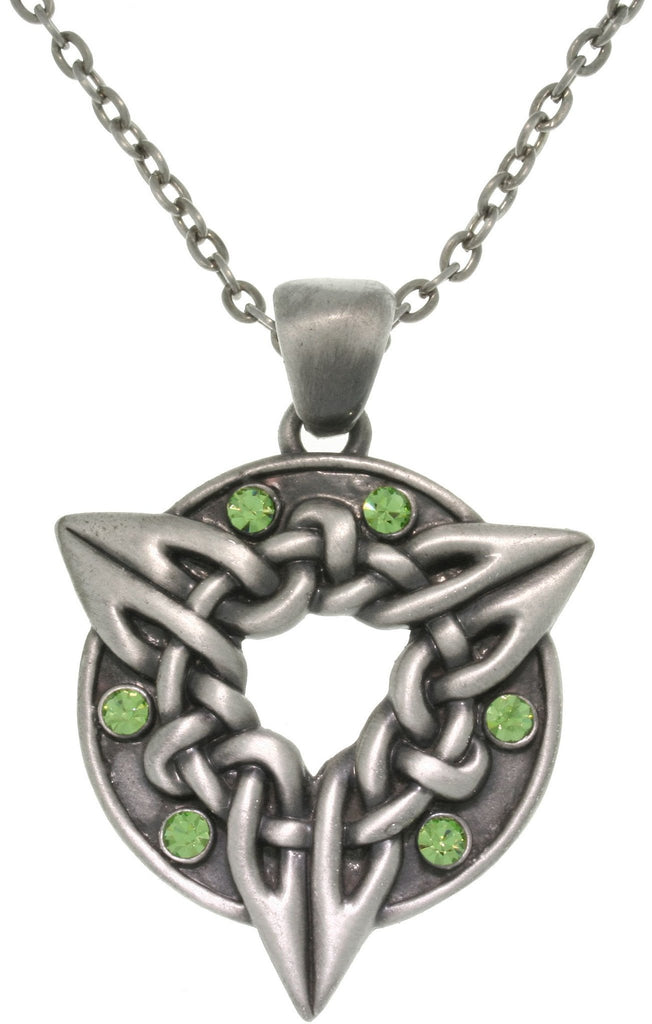 Jewelry Trends Pewter Unisex Green Crystal Celtic Triquetra Circle Of Life Pendant with 23 Inch Chain Necklace