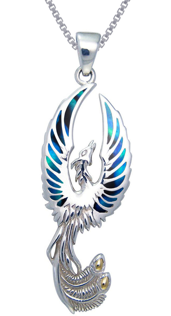 "Jewelry Trends Flying Phoenix Fire Bird Sterling Silver Pendant Necklace 18"" Paua Shell Wings on 18 Inch Box Chain Necklace"