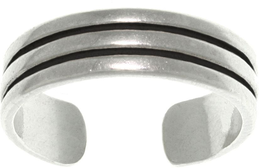 Jewelry Trends Sterling Silver Triple Row Wedding Band Design Adjustable Toe Ring