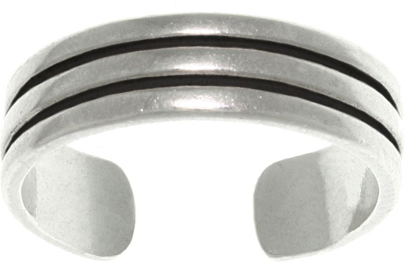 Jewelry Trends Three Row Wedding Band Design Adjustable Sterling Silver Toe Ring
