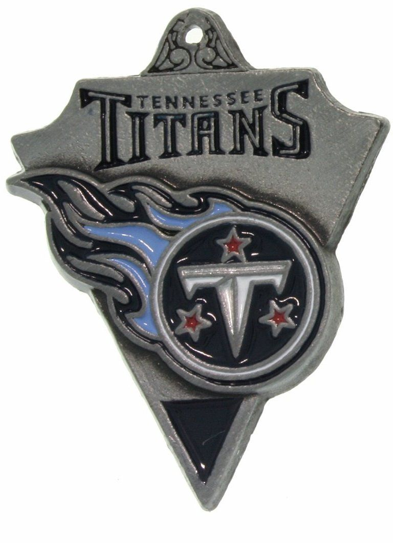 Jewelry Trends Pewter Tennessee Titans NFL Pennant Pendant on Black Leather Necklace