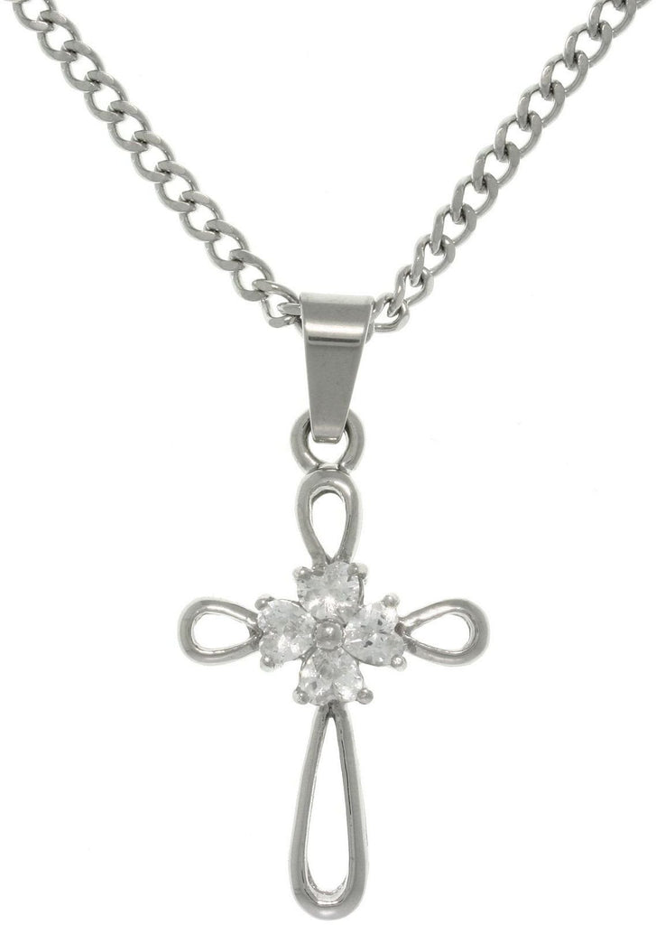 "Jewelry Trends Stainless Steel Cross Pendant with CZ Center Gem Stones on 18"" Curb Chain Necklace"
