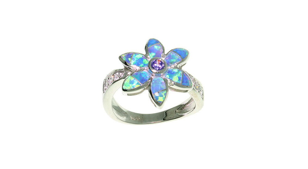 Jewelry Trends Sterling Silver Created Opal and CZ Flower Ring - 9