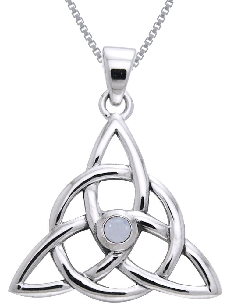 Jewelry Trends Sterling Silver and Moonstone Celtic Triquetra Pendant on 18 Inch Box Chain Necklace