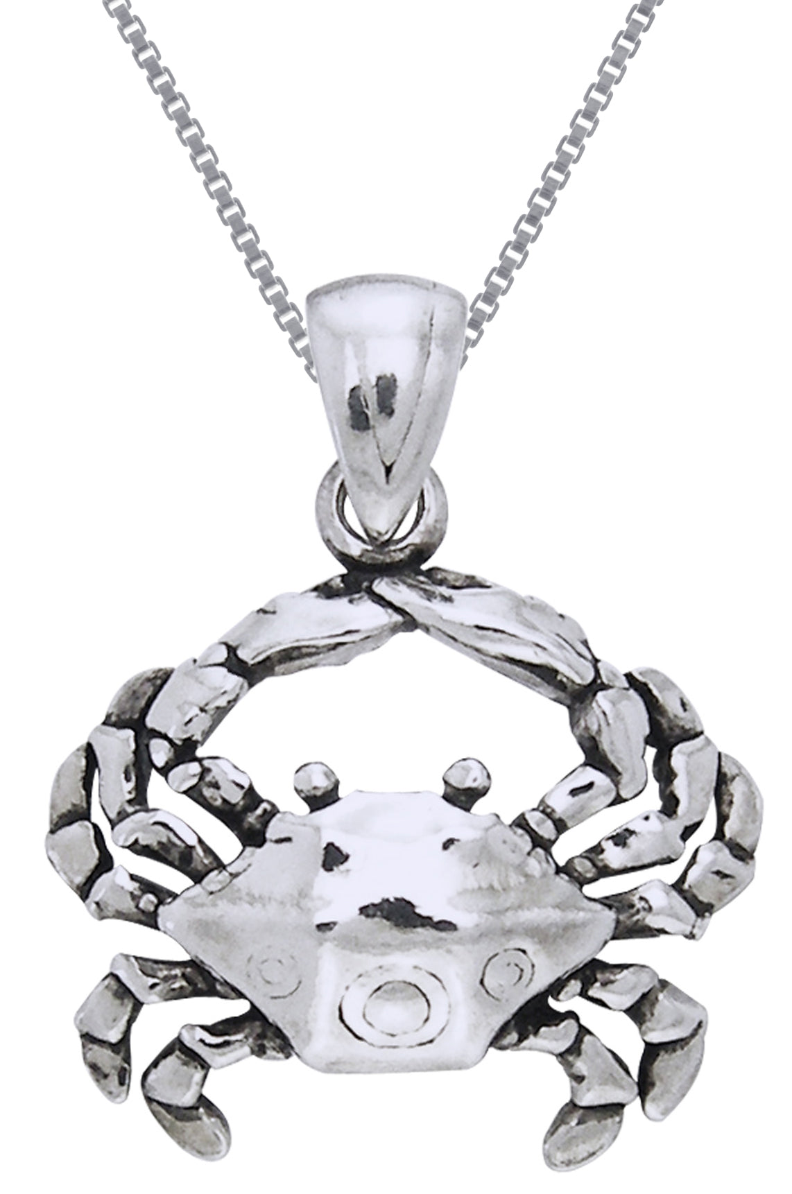 Jewelry Trends Sterling Silver Beach Crab Pendant on 18 Inch Box Chain Necklace
