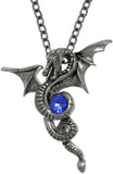 Jewelry Trends Pewter Flying Dragon Pendant with Dark Blue Crystal on Chain Necklace