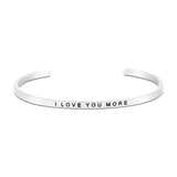 Jewelry Trends Stainless Steel I LOVE YOU MORE Message Bangle Stacking Bracelet