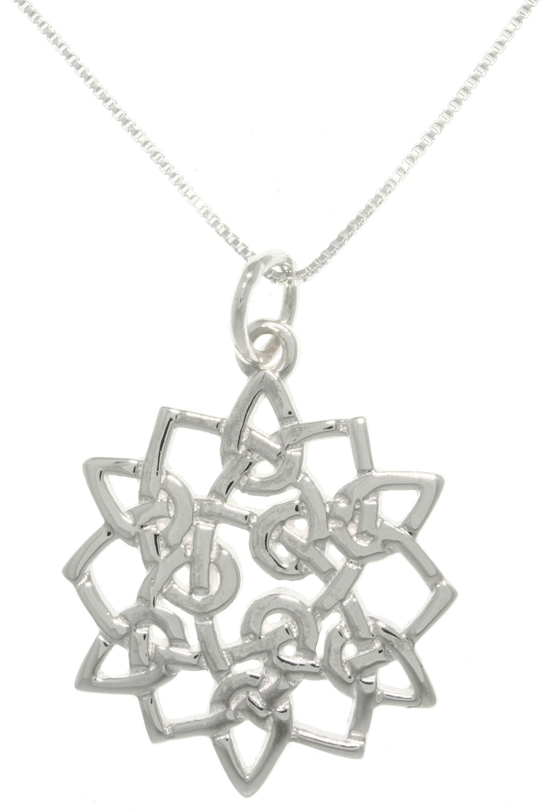 Jewelry Trends Sterling Silver Celtic Star Flower Pendant With 18 Inch Chain Necklace