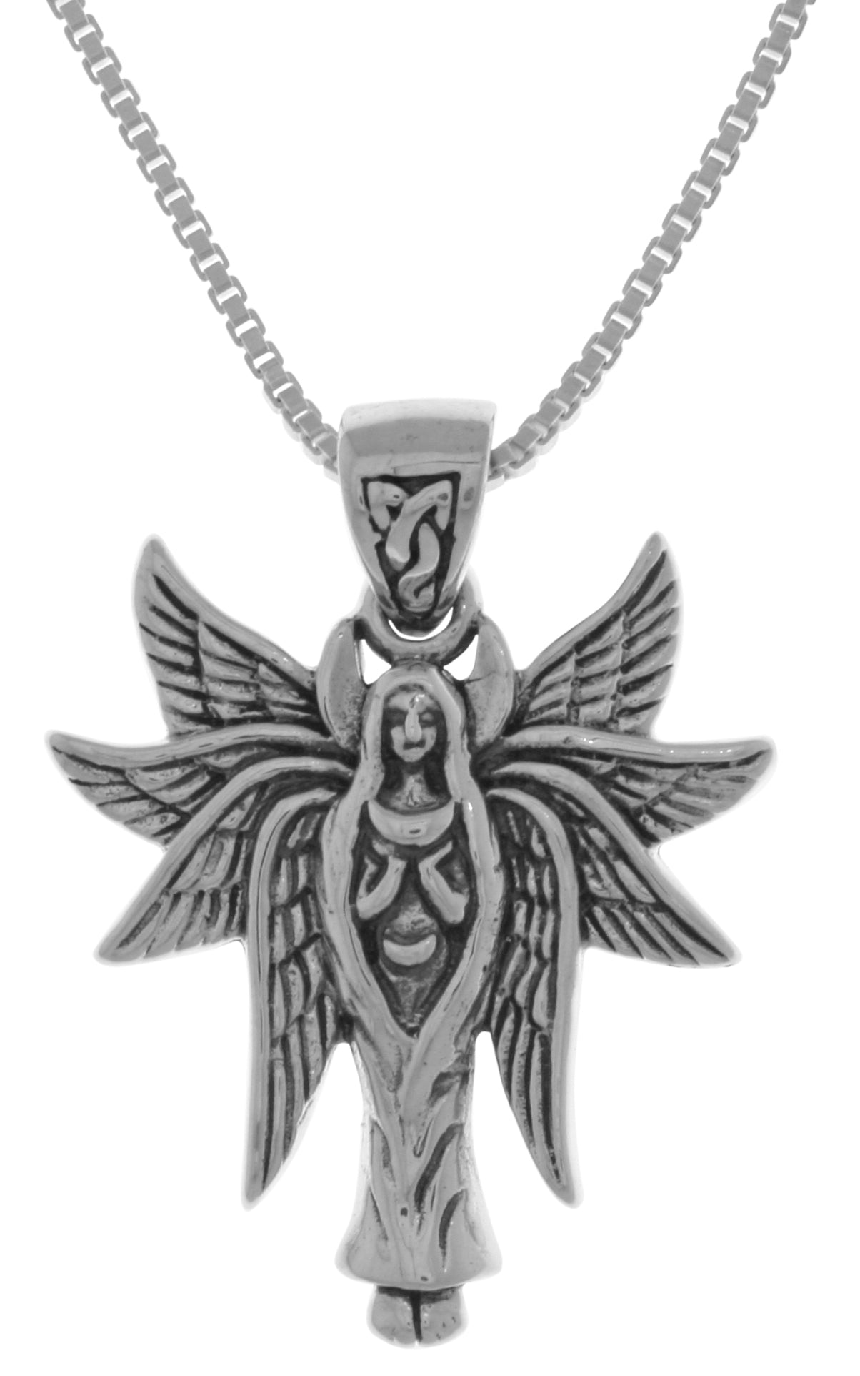 Jewelry Trends Sterling Silver Celtic Angel Fairy with Wings Pendant on 18 Inch Box Chain Necklace