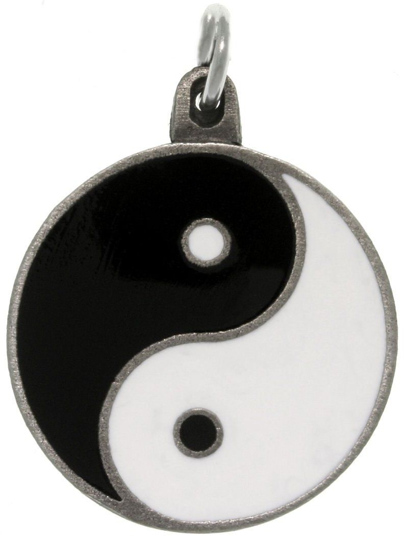 Jewelry Trends Pewter Yin Yang Black and White Balance Pendant