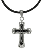 Jewelry Trends Stainless Steel Cross Pendant with Rope Braided Detail on Black Leather Necklace