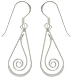 Jewelry Trends Sterling Silver Teardrop with Spiral Dangle Earrings