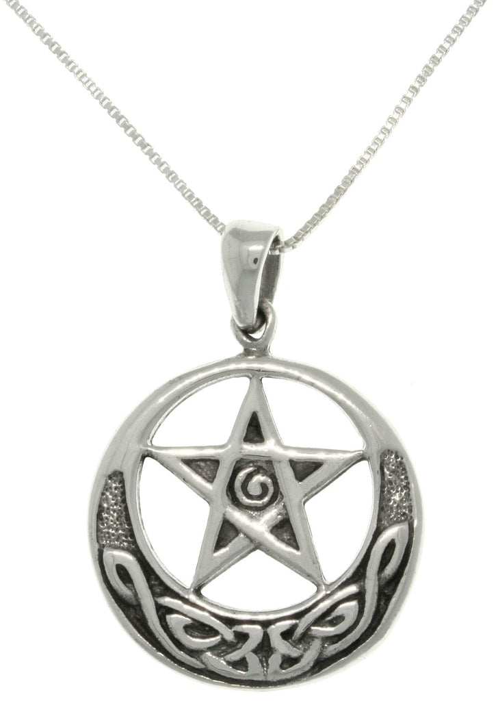 Jewelry Trends Celtic Star Moon Pentacle Sterling Silver Pendant Necklace 18""