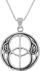 Jewelry Trends Sterling Silver Celtic Chalice Well Symbol Pendant on 18 Inch Box Chain Necklace