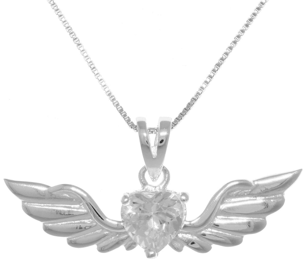 Jewelry Trends Sterling Silver Phoenix Angel Wings Heart Pendant with Clear CZ on Chain Necklace Valentines Gift