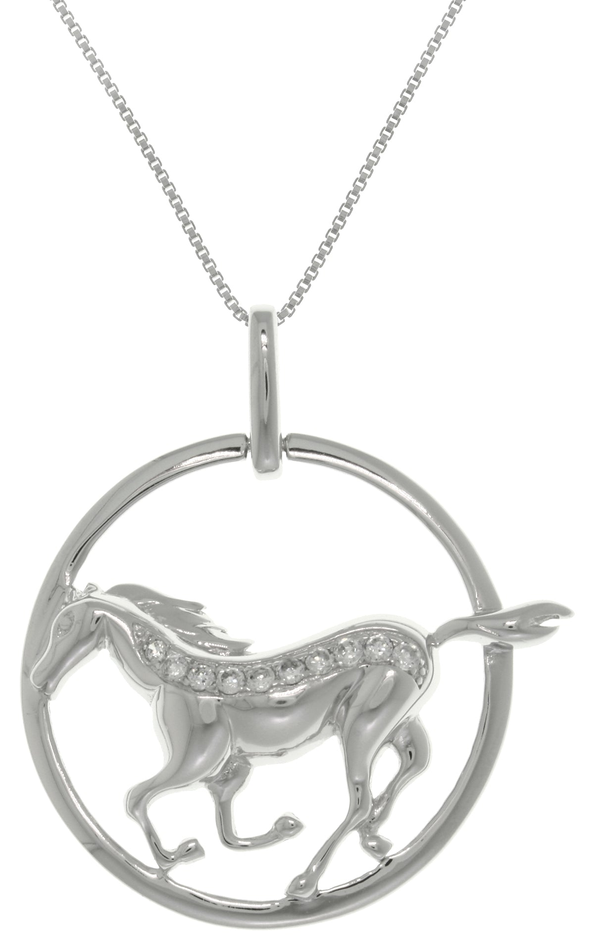 Jewelry Trends Sterling Silver Running Horse with CZ Crystals in Circle Pendant on 18 Inch Box Chain Necklace