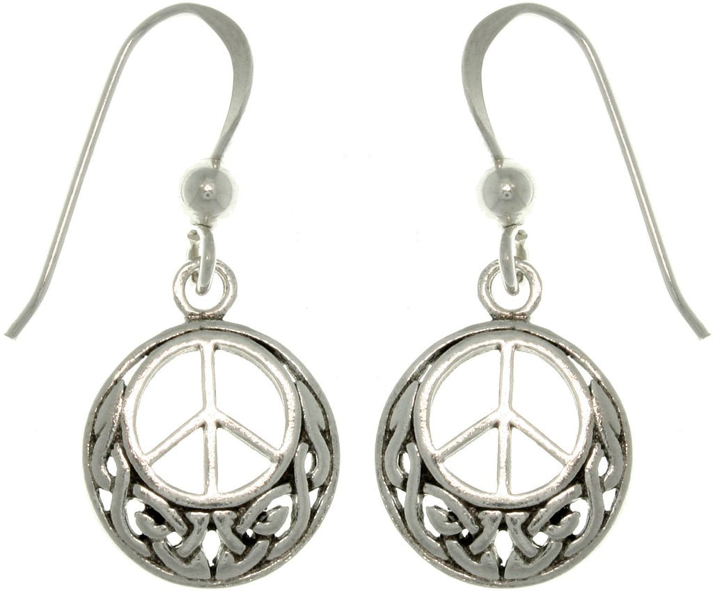 Jewelry Trends Sterling Silver Celtic Peace Sign Round Dangle Earrings