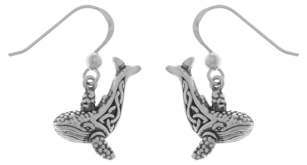 Jewelry Trends Sterling Silver Celtic Knotwork Whale Dangle Earrings