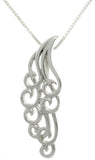 Jewelry Trends Sterling Silver Swirl Wing Pendant with 18 Inch Box Chain Necklace