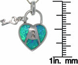 "Jewelry Trends Sterling Silver Created Blue Opal Key To My Heart Pendant on 18"" Box Chain Necklace"