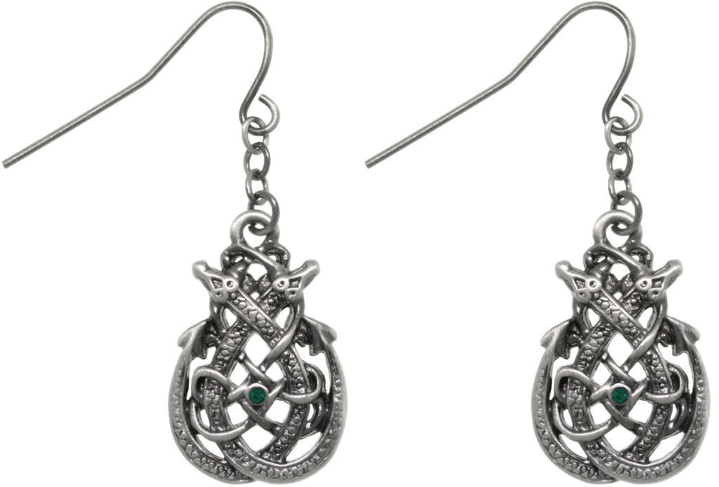 Jewelry Trends Pewter Celtic Dragon Teardrop Knot Dangle Earrings with Green Crystals