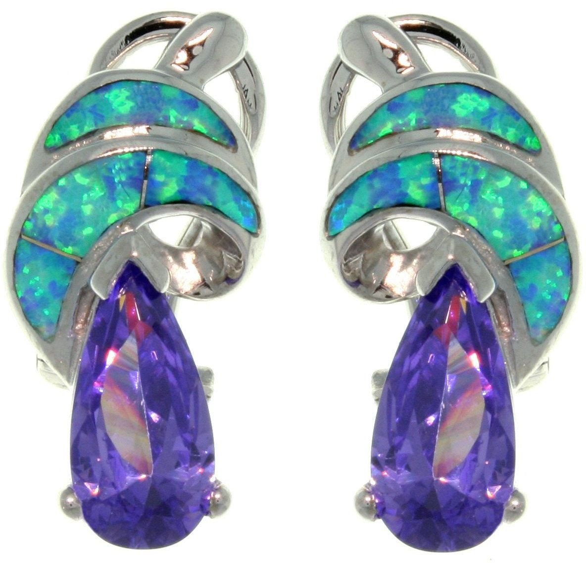Jewelry Trends Sterling Silver Created Blue Opal and Purple Cubic Zirconia Shimmering Swirl Earrings