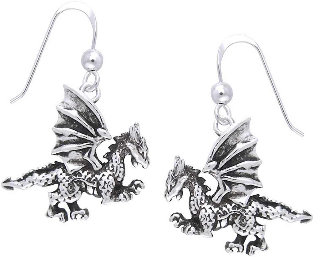 Jewelry Trends Sterling Silver Fierce Clawing Dragon Dangle Earrings