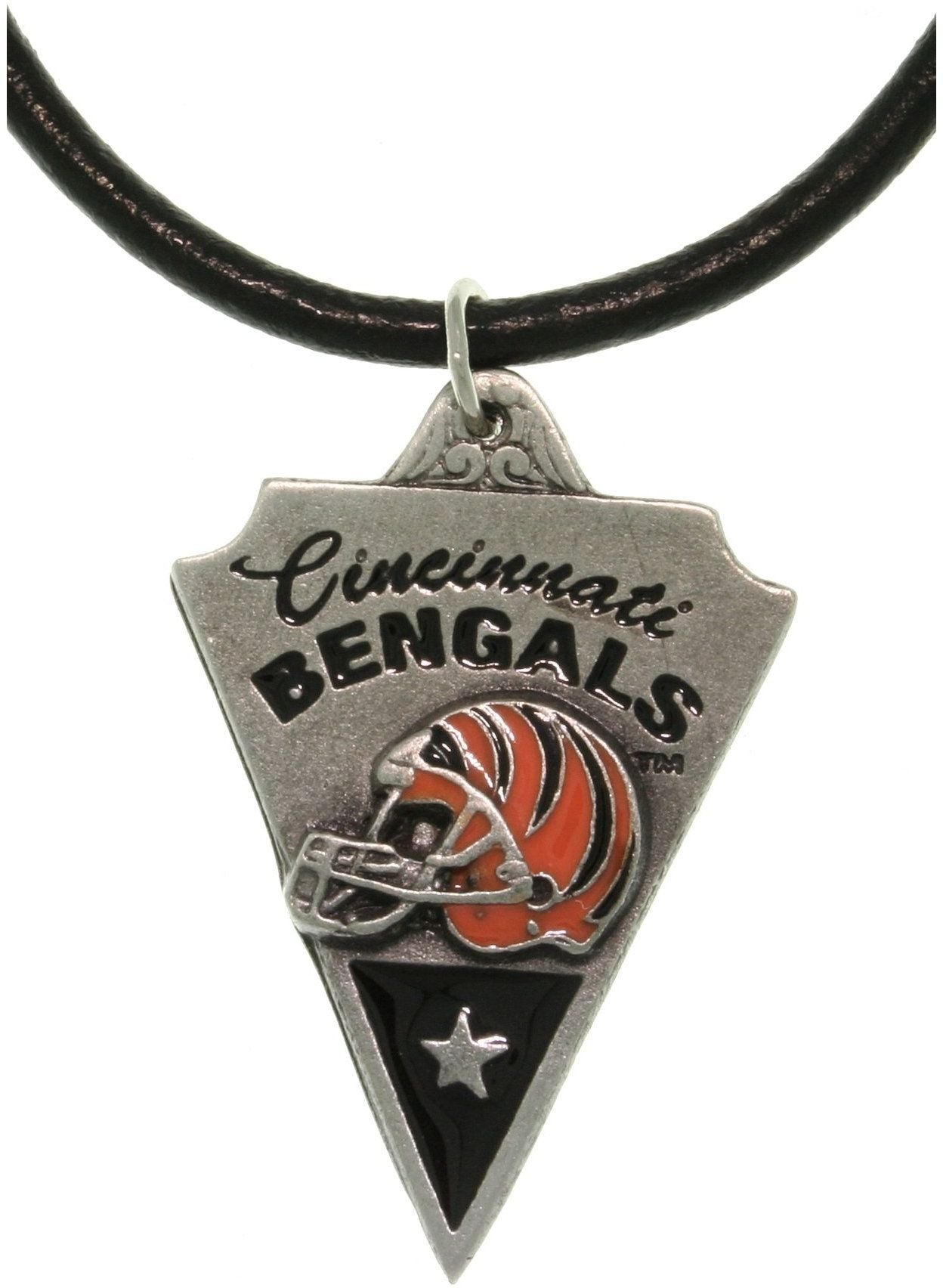 Jewelry Trends Pewter Cincinnati Bengals NFL Pennant Pendant on Black Leather Necklace