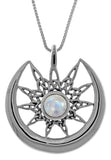 Jewelry Trends Sterling Silver Celtic Star Sun and Crescent Moon Pendant with Moonstone on 18 Inch Chain Necklace