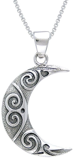 Jewelry Trends Sterling Silver Crescent Moon Spiral Celtic Pendant on 18 Inch Box Chain Necklace