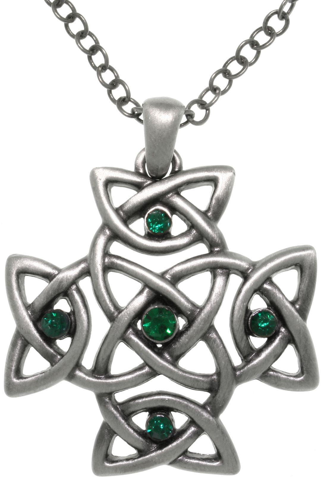 Jewelry Trends Pewter Green Crystal Celtic Cross Pendant on 24 Inch Chain Necklace