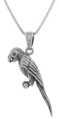 Jewelry Trends Sterling Silver Pet Parrot Bird Pendant on 18 Inch Box Chain Necklace