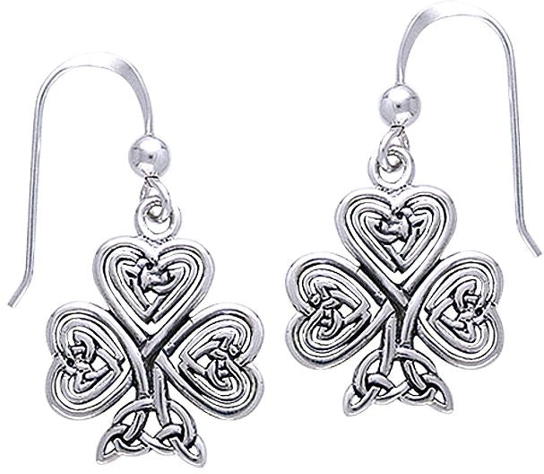 Jewelry Trends Sterling Silver Celtic Claddagh Clover Shamrock of Faith Dangle Earrings
