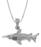 Jewelry Trends Sterling Silver Hammerhead Shark Pendant on 18 Inch Box Chain Necklace