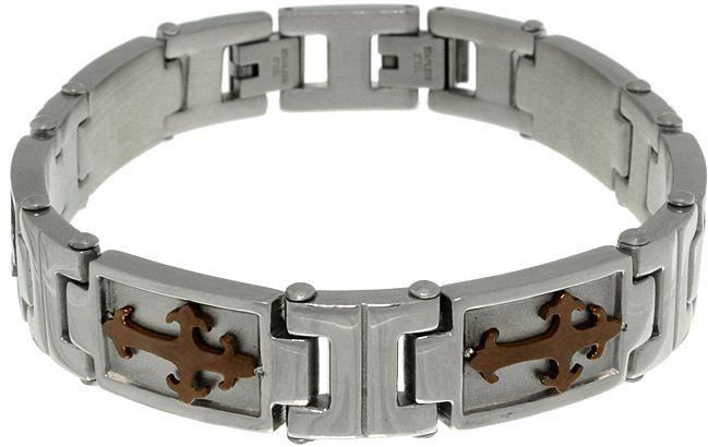 Jewelry Trends Stainless Steel Tribal Cross Link Bracelet with Coffee Brown Ion Overlay