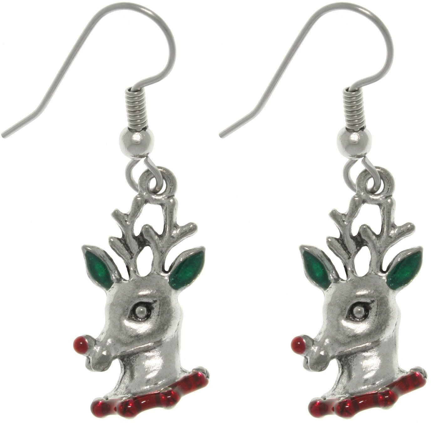 Jewelry Trends Pewter Red-nosed Reindeer Dangle Earrings