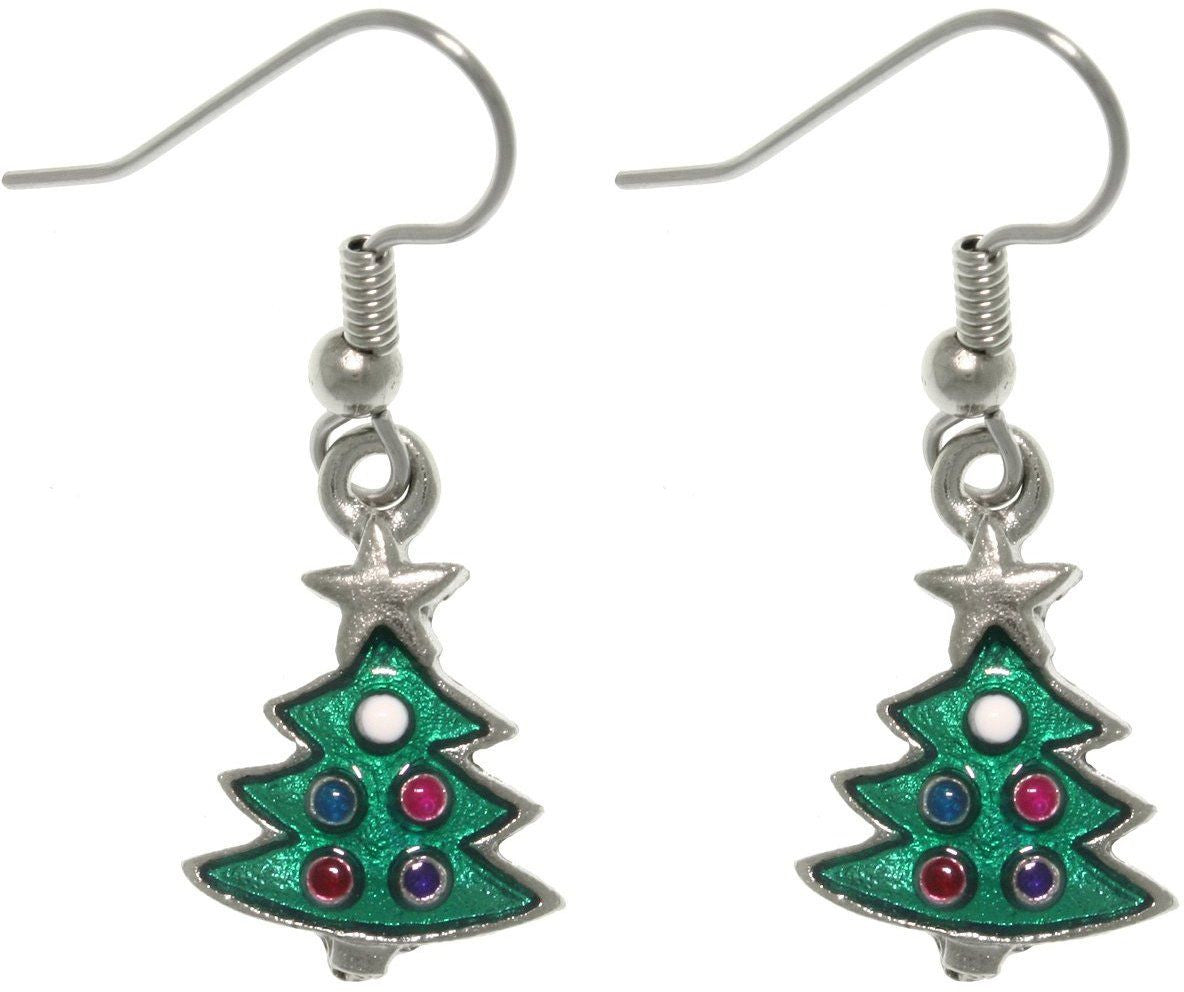 Jewelry Trends Pewter Green Enameled Christmas Tree Dangle Earrings