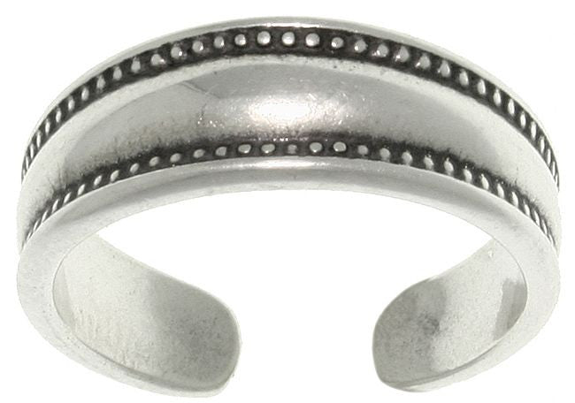 Jewelry Trends Sterling Silver Bali Edge Wedding Band Style Adjustable Toe Ring