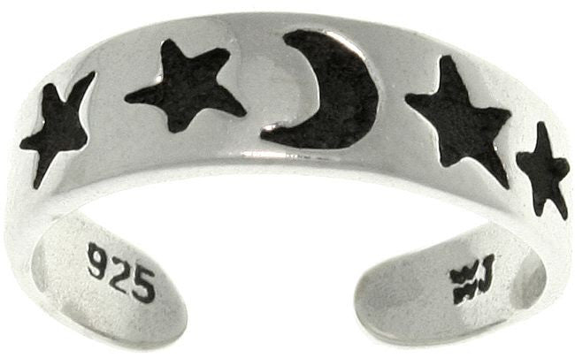 Jewelry Trends Sterling Silver Celestial Moon and Stars Adjustable Toe Ring