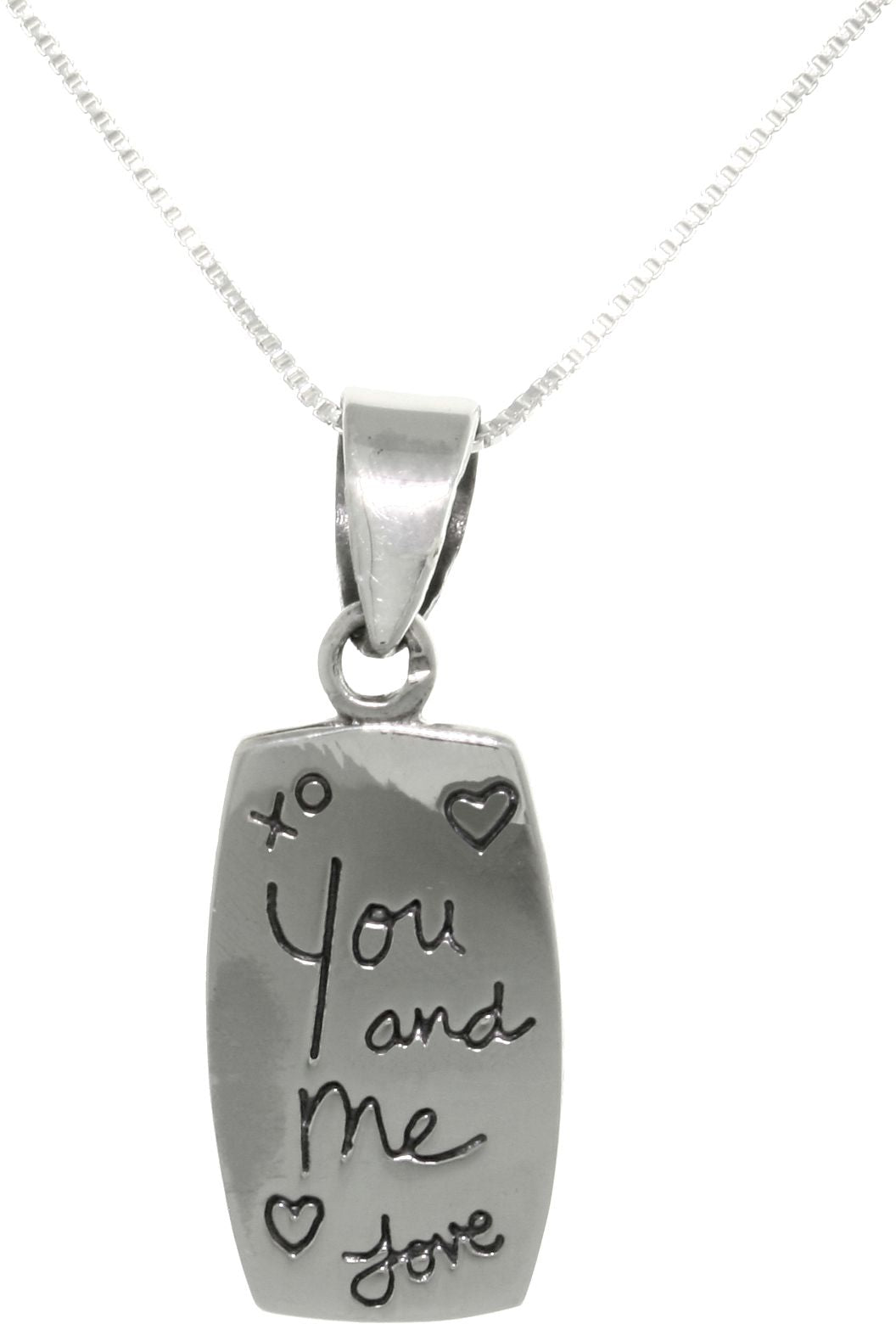 Jewelry Trends Sterling Silver Message Pendant with Words 'You and Me Love' Necklace