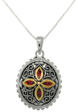 Jewelry Trends Sterling Silver Bali Red CZ Cross Medallion Pendant with 18 Inch Box Chain Necklace