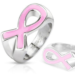 Jewelry Trends Stainless Steel Band Ring with Cancer Awareness Pink Ribbon Whole Sizes 5 - 9 - 5