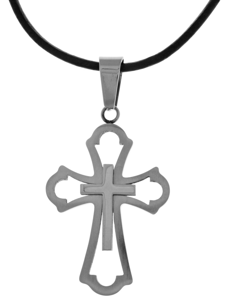 Jewelry Trends 316L Stainless Steel Double Cross Design Pendant on Black Leather Necklace