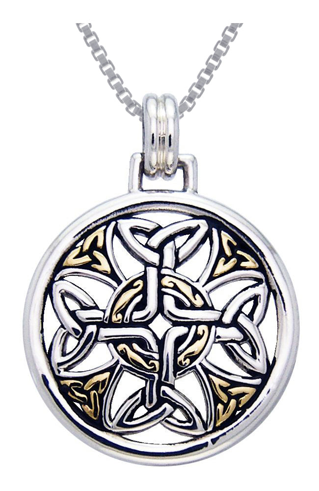 Jewelry Trends Sterling Silver Celtic Trinity Knotwork Cross Medallion Pendant with Gold-plating on Box Chain Necklace