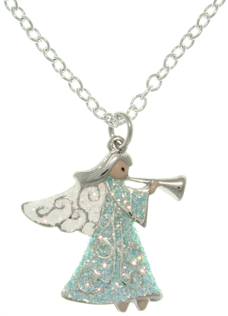 Jewelry Trends Pewter Angel with Trumpet Enameled Charm with 18 Inch Chain Necklace